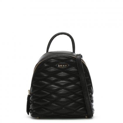 Mini Quilted Black Leather Backpack