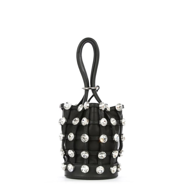 Mini Roxy Black Leather Jewelled Bucket Bag