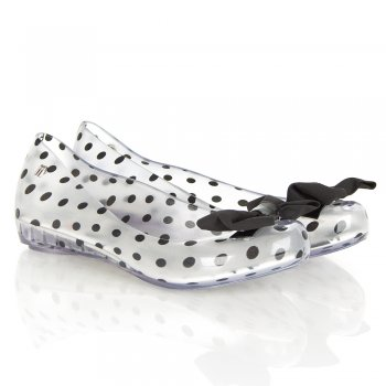 Minnie Mouse Ultragirl Bow Clear Black Spotted Pump