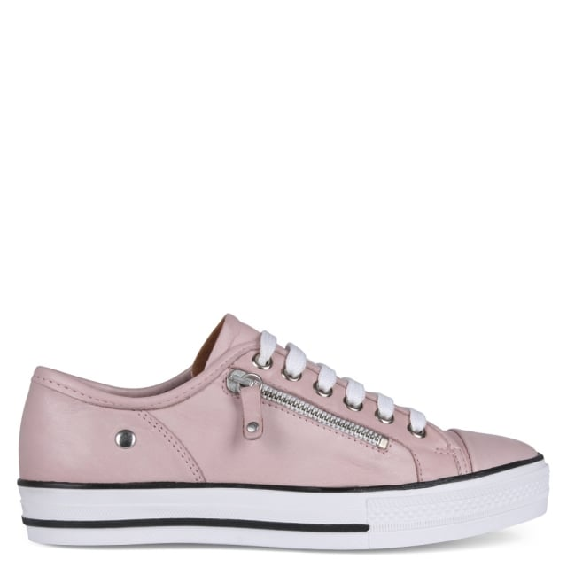 Pink Leather Zip Detail Trainers