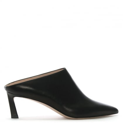 Mira Black Leather Low Heel Mules