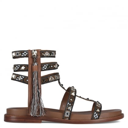Miracle Brown Leather Studded Gladiator Sandals