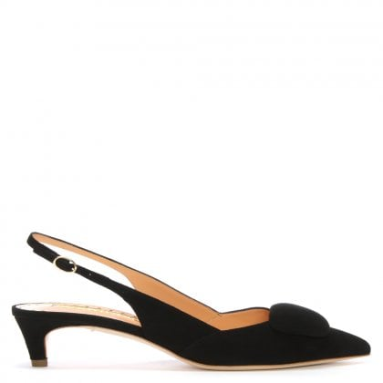 Misty Black Suede Pointed Toe Sling Back Kitten Heels