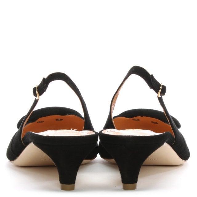8b56d50ea6f Rupert Sanderson Misty Black Suede Pointed Toe Sling Back Kitten Heels