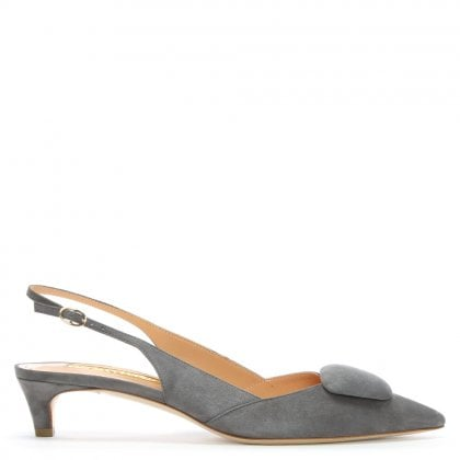 Misty Grey Suede Pointed Toe Sling Back Kitten Heels
