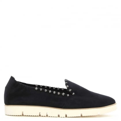 Kennel & Schmenger Mitford Navy Suede Jewelled Slip On Pump