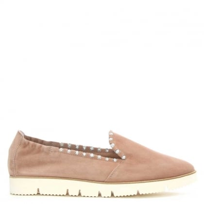 Mitford Pink Suede Jewelled Slip On Pump