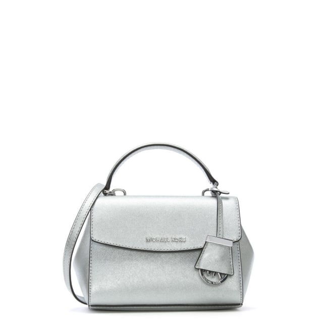 2e7a76b2ef90 Michael Kors Ava Mini Silver Leather Cross-Body Bag