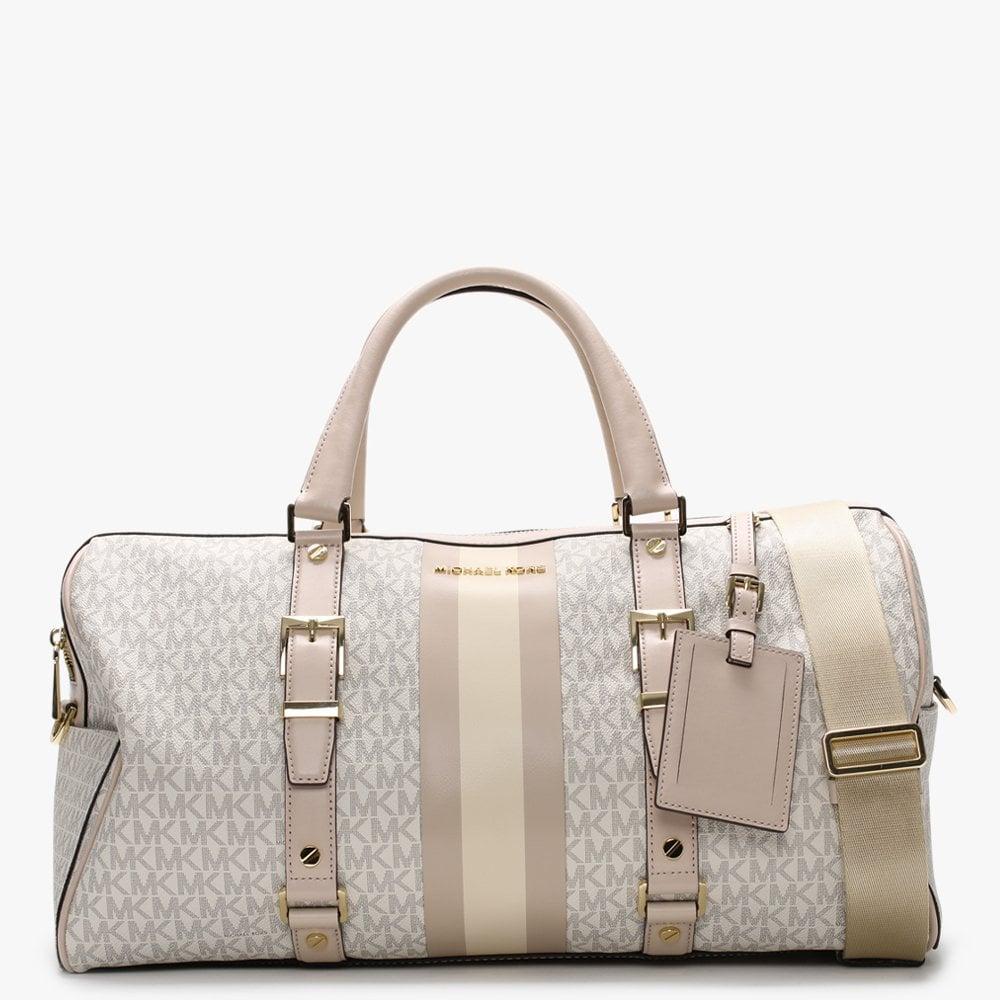 Large Bedford Travel Vanilla Soft Pink Logo Stripe Weekender Bag