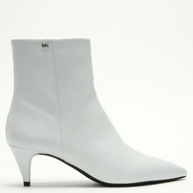 White Leather Kitten Heel Ankle Boots