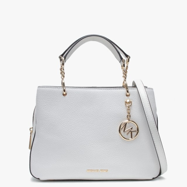 Lillie Medium Optic White Leather Satchel Bag