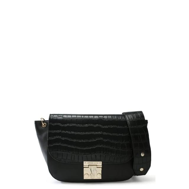 Versace Jeans Moc Croc Black Dome Satchel Bag