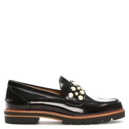 Mocpearl Black Patent Loafers