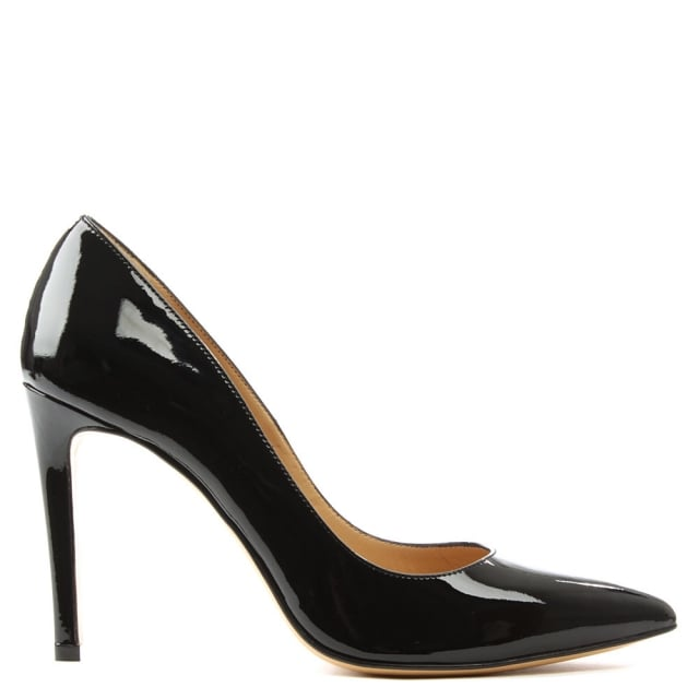 Modest Black Patent Leather Pointed Court Shoe