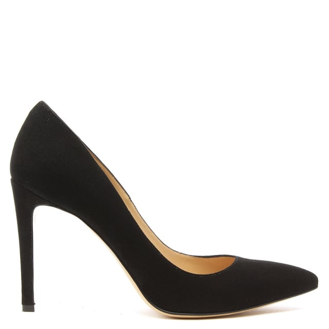 Modest Black Suede Pointed Court Shoe