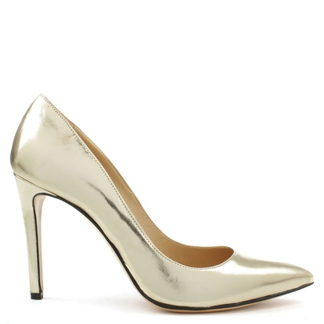 Modest Gold Leather Pointed Court Shoe