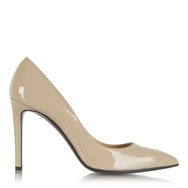 Modest Nude Patent Leather Pointed Court Shoe