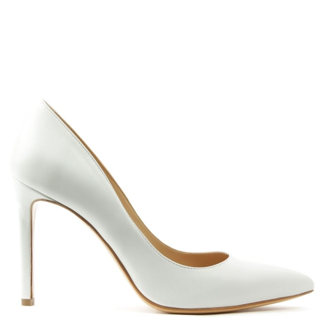 Modest White Leather Pointed Court Shoe
