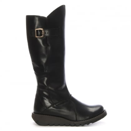 Mol Black Leather Low Wedge Knee Boots
