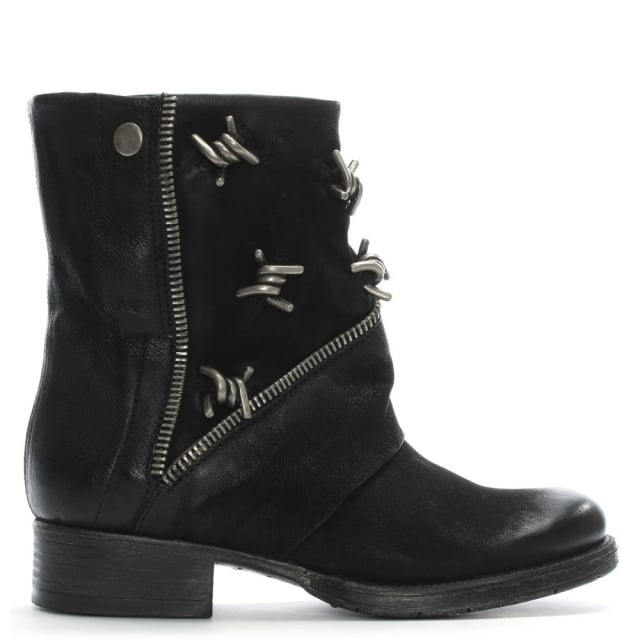 Mola Black Leather Barbed Biker Boots