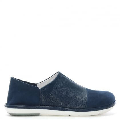 Mola Blue Leather Slip On Shoes