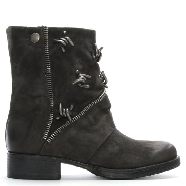 Mola Grey Leather Barbed Biker Boots