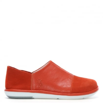 Mola Orange Leather Slip On Shoes