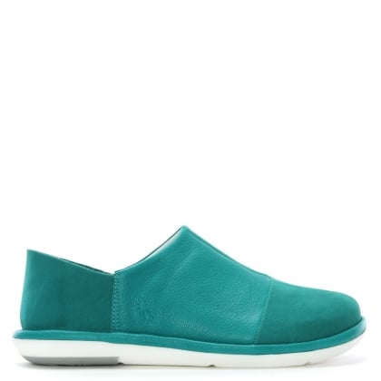 Mola Turquoise Leather Slip On Shoes