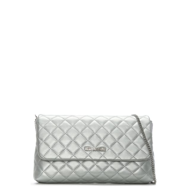 Love Moschino Molly Silver Quilted Cross-Body Bag
