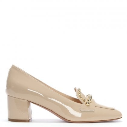 Molokai Nude Patent Leather Block Heel Loafers