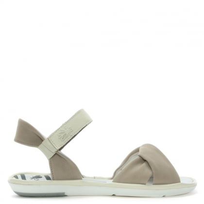 Mome Beige Suede Knotted Strap Sandals