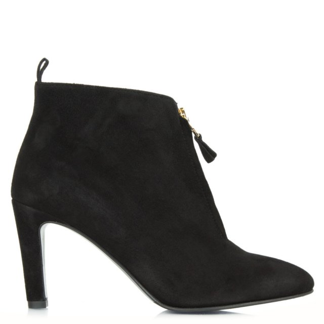 Moments Black Suede Zip Front Ankle Boot