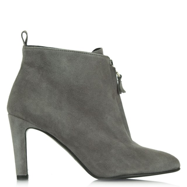 Moments Grey Suede Zip Front Ankle Boot