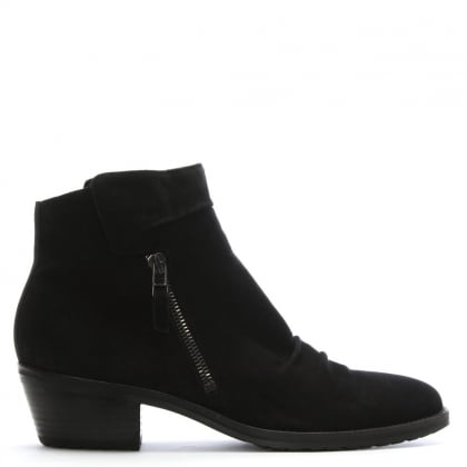 Monkwell Black Suede Low Heel Ankle Boot