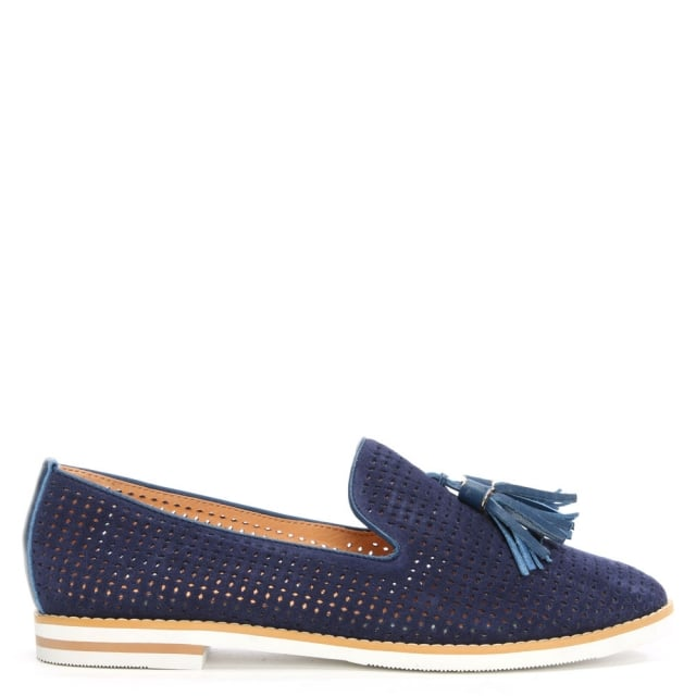 Montego Navy Leather Perforated Loafer