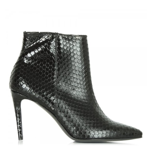 Montpelier Black Leather Reptile Ankle Boot