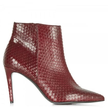 Montpelier Red Leather Reptile Ankle Boot