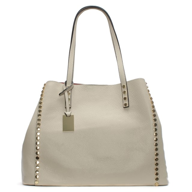 Mooch Beige Tumbled Leather Studded Tote Bag