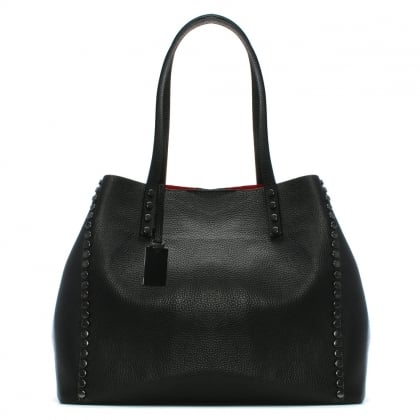 Mooch Black Tumbled Leather Studded Tote Bag