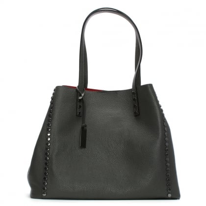 Mooch Grey Tumbled Leather Studded Tote Bag
