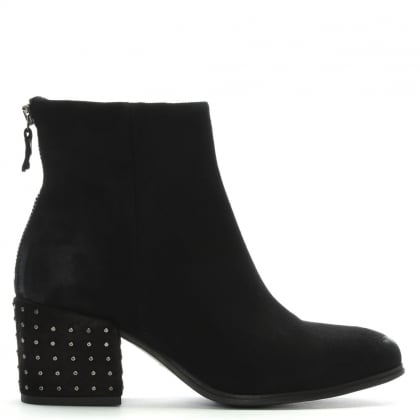 Moorish Black Suede Studded Block Heel Ankle Boots