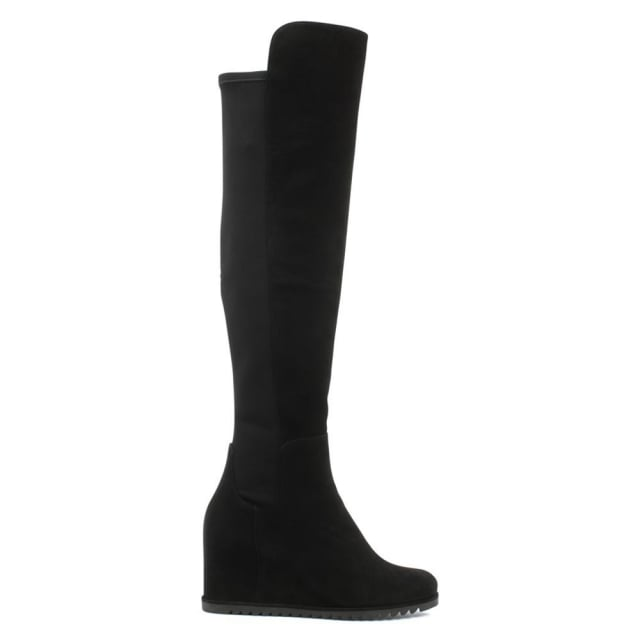 More Black Suede Wedge Knee Boot