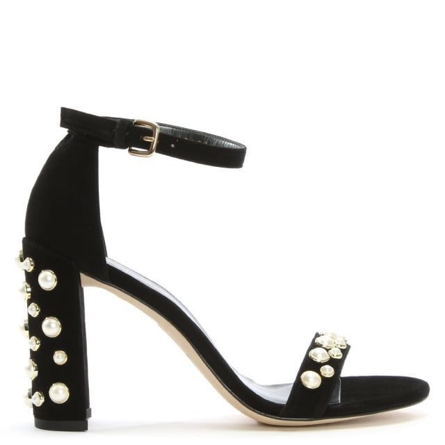 Stuart Weitzman Morepearls Black Suede Sandals