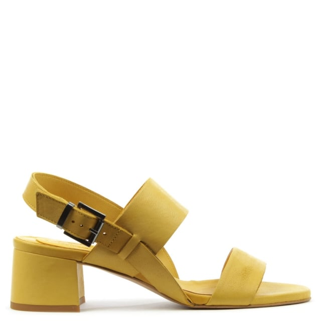 Mori Yellow Leather Two Bar Block Heel Sandal