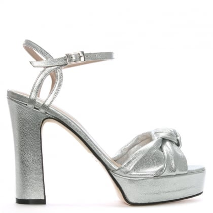 Morian Silver Leather Knotted Platform Sandals