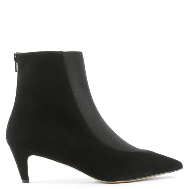 Moshe Black Suede Pointed Toe Kitten Heel Ankle Boot