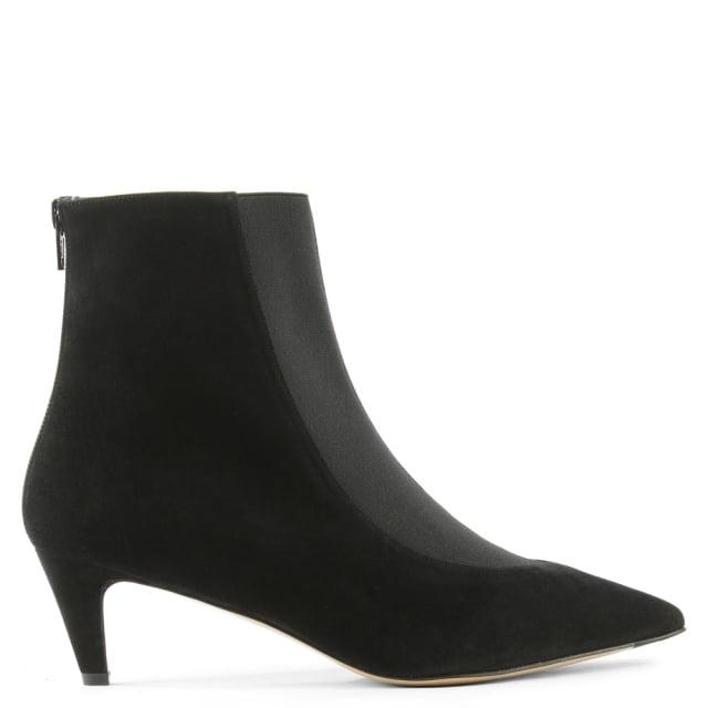 Moshe Black Suede Pointed Toe Kitten Heel Ankle Boot
