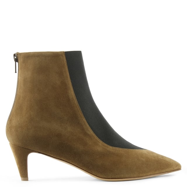 Moshe Khaki Suede Pointed Toe Kitten Heel Ankle Boot