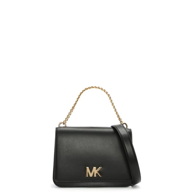 f5872d25c931 Michael Kors Mott Black Leather Chain Shoulder Cross-Body Bag