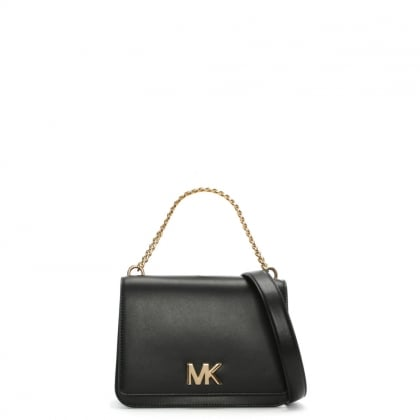 Mott Black Leather Chain Shoulder Cross-Body Bag